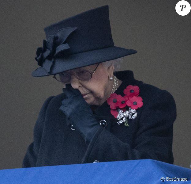 La reine Elisabeth II d'Angleterre lors de la cérémonie de la journée du souvenir (Remembrance Day) à Londres, automne 2020.