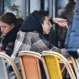 Exclusif - Bilal Hassani prend un verre en terrasse avec des amis à Paris le 18 janvier 2019.