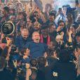 """Jean-Paul Gaultier lors du dernier défilé de mode Haute-Couture printemps-été 2020 """"Jean-Paul Gaultier"""" au théâtre du Châtelet à Paris, France, le 22 janvier 2020. Communiqué de presse envoyé vendredi 17 janvier par la maison Jean Paul Gaultier signé du couturier lui-même, il précisait : """"Le 22 janvier 2020, je fêterai mes 50 ans de carrière dans la mode avec un grand défilé-show Haute Couture, au Théâtre du Chatelet. Ce sera aussi mon dernier défilé""""."""