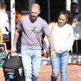 Matt Pokora et sa compagne Christina Milian se baladent avec leur fils Isaiah dans le quartier de West Hollywood à Los Angeles. La petite famille est allée déjeuner chez Fred Segal. Le 11 février 2020
