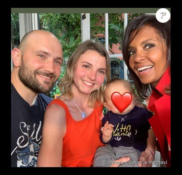 """Karine Le Marchand avec Nathalie et Victor de """"L'amour est dans le pré"""" et leur fils - Instagram."""