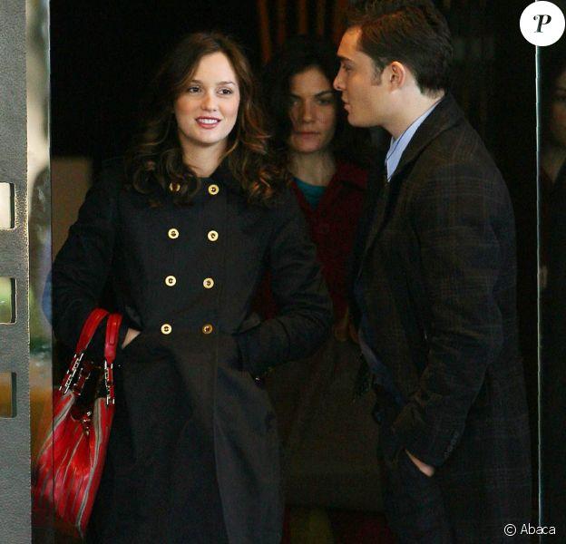 Leighton Meester sur le tournage de la saison 3 de Gossip Girl, le 19 octobre 2009