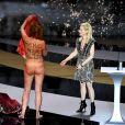 Corinne Masiero et Marina Foïs, maîtresse de cérémonie sur scène lors de la 46ème cérémonie des César à l'Olympia à Paris le 12 mars 202. © Bertrand Guay/ Pool / Bestimage