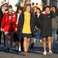 Chris Colfer, Heather Morris, Lea Michele, Dianna Agron et Naya Rivera sur le tournage de Glee à Los Angeles, en décembre 2011.