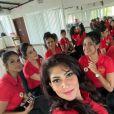 Pushpika De Silva et les candidates de Miss Sri Lanka Monde. Février 2021.