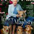 """Elizabeth en couverture du magazine """"Vanity Fair"""" avec ses chiens en 2018."""