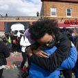 Manifestation de joie après l'annonce du verdict de Derek Chauvin, reconnu coupable du meurtre de George Floyd. Minneapolis, le 20 avril 2021.