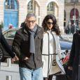 George Clooney et sa femme Amal Alamuddin (enceinte) arrivent au Ritz à Paris. Le 25 février 2017