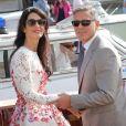 George Clooney et sa femme Amal Clooney quittent l'hôtel Aman après leur mariage civil à Venise. Le 28 septembre 2014.