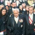 Obsèques de la princesse Grace Kelly de Monaco - Le prince Rainier de Monaco et ses enfants, le prince Albert et la princesse Caroline, 1982.