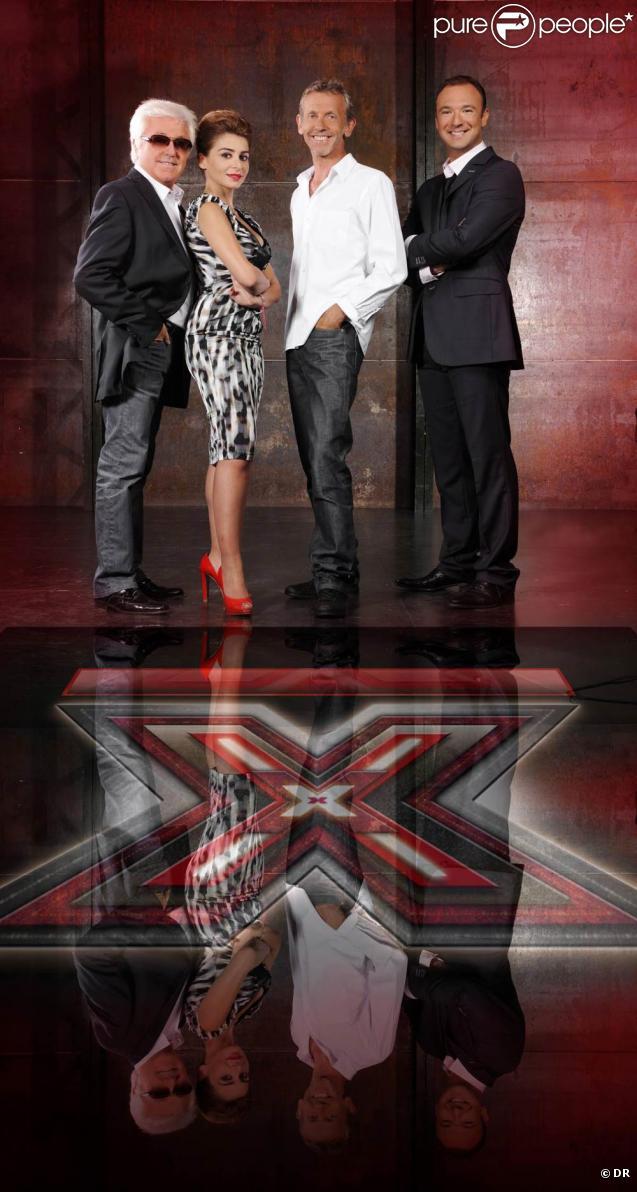 Le jury de X-Factor et l'animateur Alexandre Devoise
