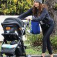 Exclusif - Troian Bellisario promène sa fille en poussette dans les rues de Los Angeles, le 15 janvier 2019