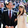 Patrick J. Adams et Troian Bellisario lors du mariage de Meghan Markle et du prince Harry au Château de Windsor.