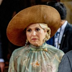 Le roi Willem-Alexander et la reine Maxima des Pays-Bas font une déclaration suite à la blessure par balles du journaliste néerlandais Peter R. de Vries lors de leur visite d'Etat de trois jours en Allemagne, le 7 juillet 2021.