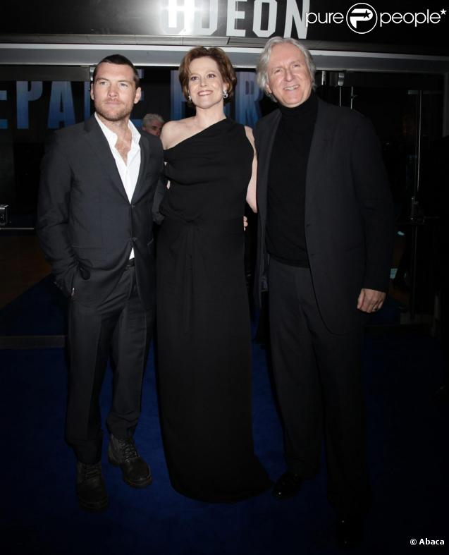 James Cameron, Sigourney Weaver et Sam Worthington