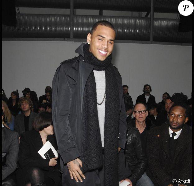 Chris Brown, le 16 janvier 2010, à Milan, pour le défilé automne-hiver 2010/2011 de Costume National