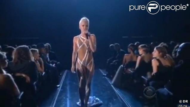 Pink a livré un nouveau numéro de haute voltige lors de la cérémonie des Grammy Awards 2010, le 31 janvier...