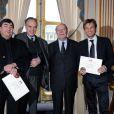 Alain Bédouet, Frédéric Mitterrand, Philippe Mestre et Laurent Delahousse (8 février 2010)