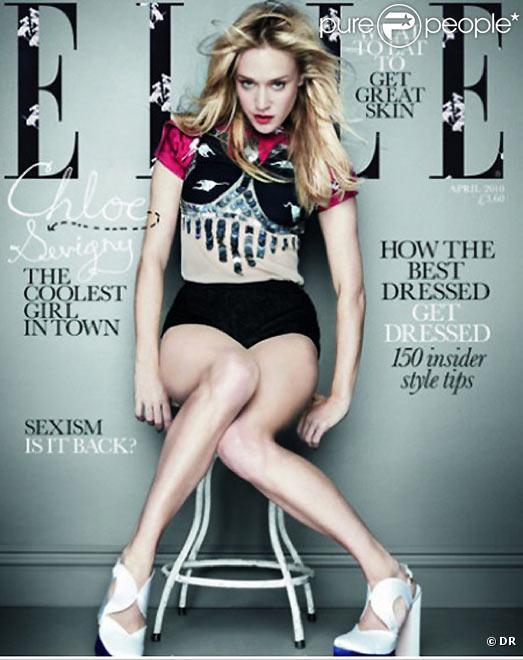 Chloë Sevigny en couverture de l'édition du magazine Elle UK du mois d'avril 2010