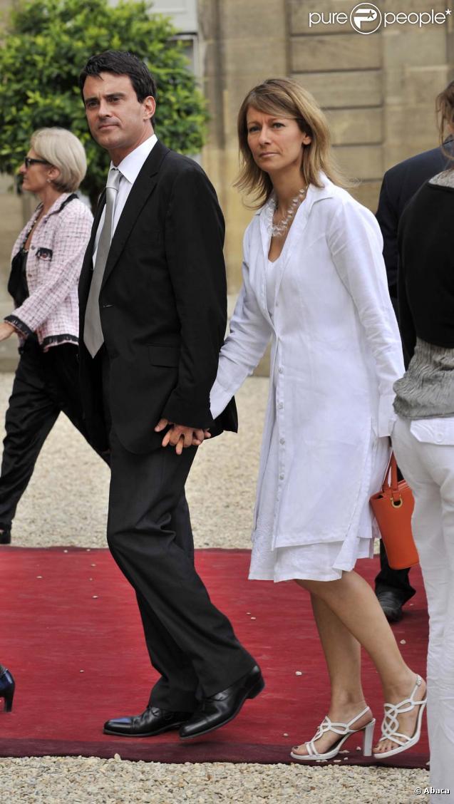 Manuel Valls et sa compange Anne Gravoin, Garden Party de l'Elysée, 14 juillet 2009
