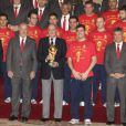 La famille royale félicite les champions du monde au Palais Royal, à Madrid. 12/07/2010