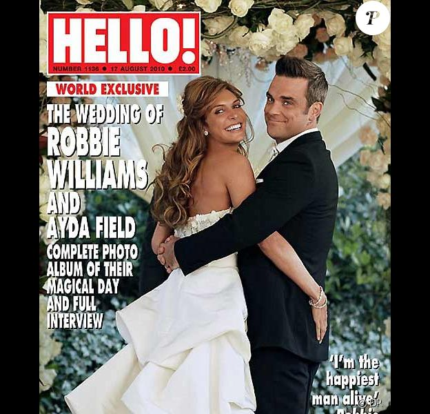 Robbie Williams et Ayda Field en couverture de Hello