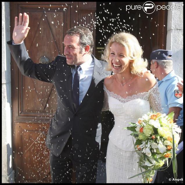 Jean Dujardin et Alexandra Lamy à leur mariage en juillet 2009
