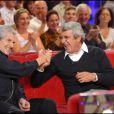 Claude Lelouch et Michel Boujenah lors de l'enregistrement de l'émission Vivement Dimanche le 15 septembre 2010