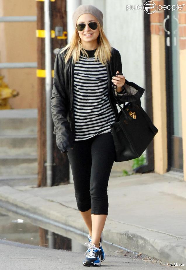 Nicole Richie se rend à la salle de gym avec le sac Birkin d'Hermès, version noire.
