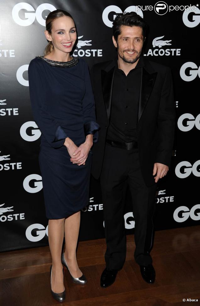 Bixente Lizarazu et la jolie Claire Keim à l'occasion de la GQ Man of the Year Party, dans l'enceinte du Shangri-La Hotel, à Paris, le 19 janvier 2011.