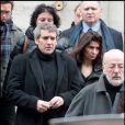 Manuel Gélin lors des obsèques de Maria Schneider en l'église de Saint-Roch à Paris le 10 février 2011