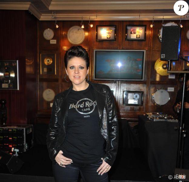 Cindy Sander, au Hard Rock Café (Paris), le 9 février 2011.