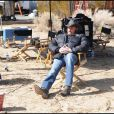 Johnny Hallyday, sur le tournage de son nouveau spot Optic 2000, février 2010 !