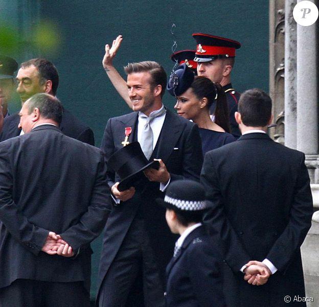 David et Victoria Beckham arrivent au mariage du prince William et de Kate Middleton, le 29 avril 2011, à Westminster (Londres).