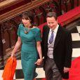 David Cameron et son épouse Samantha arrivent au mariage du prince William et de Kate Middleton, le 29 avril 2011, à Westminster (Londres).
