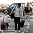 Claudia Schiffer, Matthew Vaughn et leurs aînés, Clementine et Caspar, à Londres, le 23 août 2009.