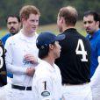Les princes Harry et William lors du tournoi de polo caritatif à Sunninghill, près d'Ascot en Angleterre le 12 juin 2011