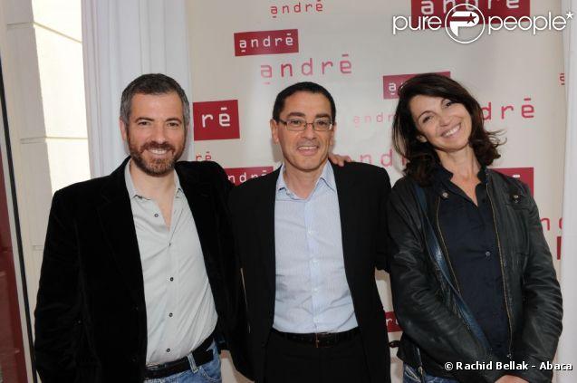 Bruno Putzulu, François Feijoo et Zabou lors de l'inauguration de la nouvelle boutique André, dans le 6e arrondissement de Paris.
