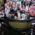 Ascot 2011, cinquième et dernière journée, samedi 18 juin 2011 : la reine Elizabeth II et son époux le duc d'Edimbourg arrivent pour la dernière fois en carrosse. RDV en 2012 !
