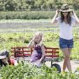 Rachel Bilson passe un bon moment avec ses deux demi-soeurs, Hatty et Rosemary à ramasser des légumes dans une ferme. Los Angeles, 26 juin 2011