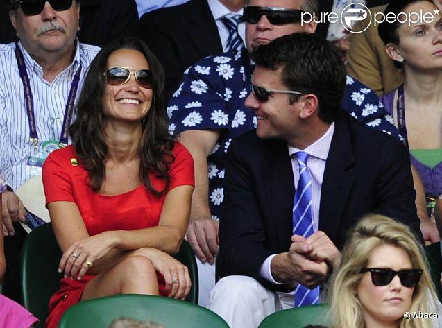 Pippa Middleton et son amoureux Alex Loudon au tournoi de Wimbledon, le 29 juin 2011.