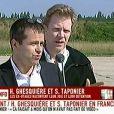 Hervé Ghesquière et Stéphane Taponier libérés, à Villacoublay le 30 juin 2011