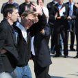 Stéphane Taponier et Hervé Ghesquière enfin de retour en France après 547 jours retenus otage en Afghanistan. Ici à la base de Villacoubray, le 30 juin 2011.