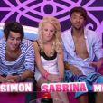 """Simon, Sabrina et Morgan sont les trois candidats menacés par la """"nomination à vie"""" (quotidienne  Secret Story 5  du samedi 9 juillet 2011)."""
