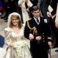Sarah Ferguson et le prince Andrew, à Londres, le 23 juillet 1986.