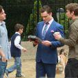 Ed Westwick, Chace Crawford et Penn Badgley sur le tournage de Gossip Girl. Le 16 août 2011