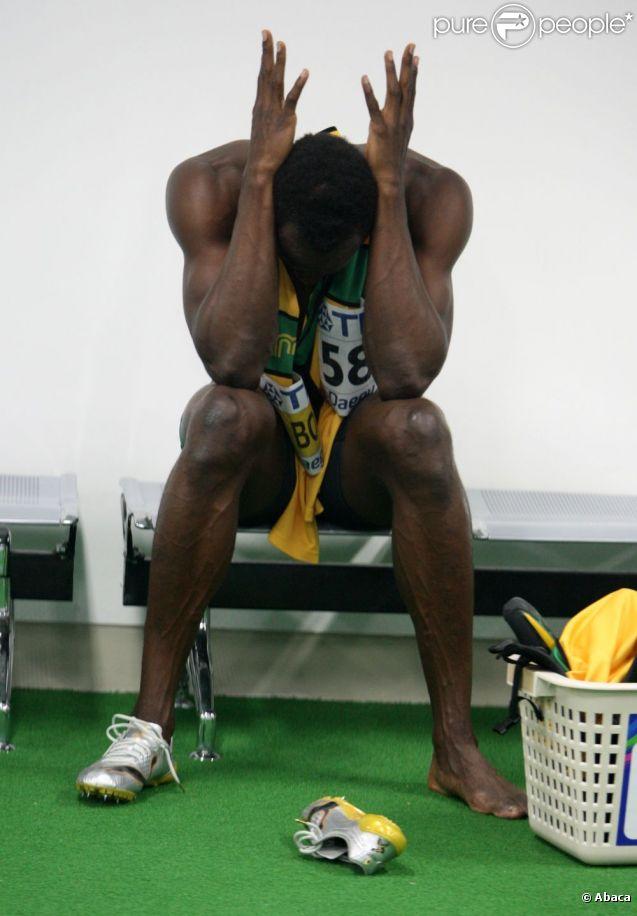 Usain Bolt, le roi déchu du sprint suite à sa contre performance en finale du 100m le 28 août 2011 lors des championnats du monde d'athlétisme à Daegu en Corée du Sud.