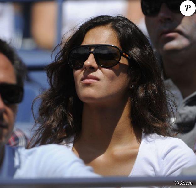 Xisca Perello dans les tribunes de l'US Open 2011 lors du match de son compagnon Rafael Nadal en 8ème de finale de l'US Open