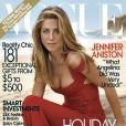 Elegante et glamour dans sa robe rouge, Jennifer Aniston fait rêver les lecteurs du magazine Vogue lors de la publication de son numéro de décembre 2008.