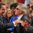 Nicolas Sarkozy décore onze personnalités intellectuelles et du monde du spectacle, à l'Élysée, le 28 septembre 2011.
